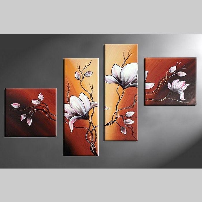 4 Leinwandbilder MAGNOLIA (3) 100 x 70cm Handgemalt