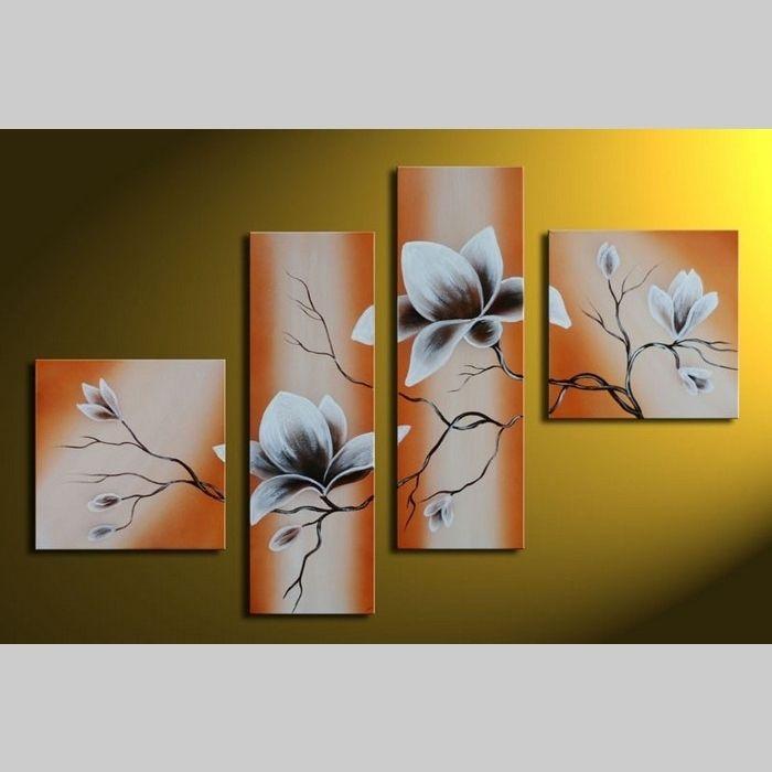4 Leinwandbilder MAGNOLIA (8) 100 x 70cm Handgemalt