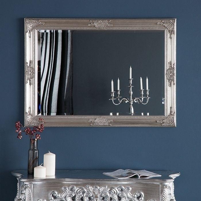 Romantischer Wandspiegel VERONIQUE Silber Antik in Renaissance-Design 105cm x 75cm