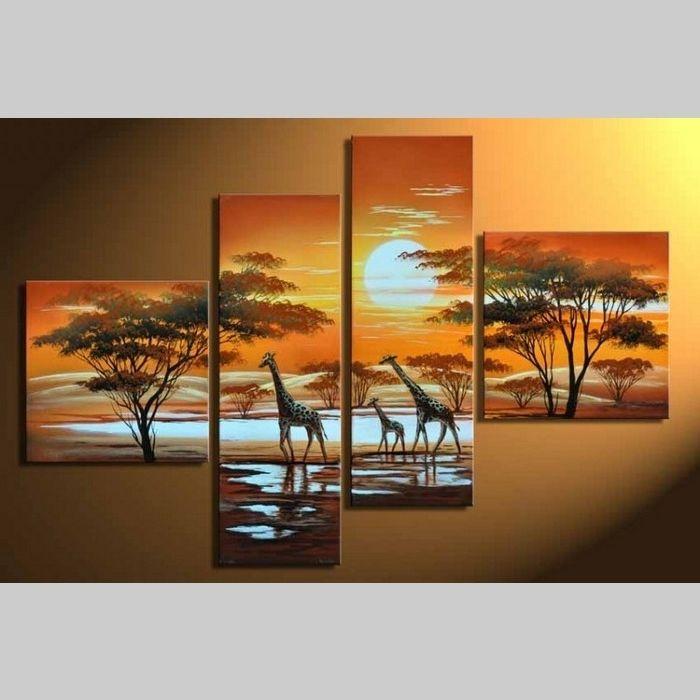 4 Leinwandbilder AFRIKA Giraffe (4) 100 x 70cm Handgemalt