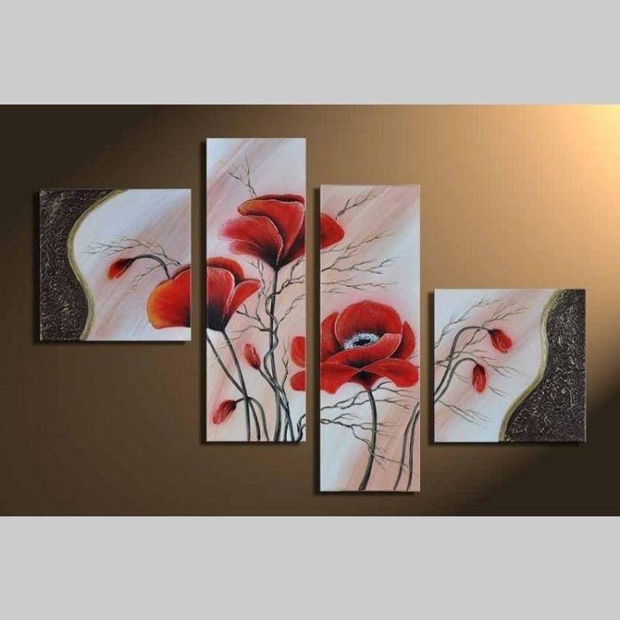 4 Leinwandbilder MOHN (3) 100 x 70cm Handgemalt