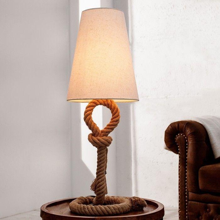 XL Tischlampe SCHIFFSTAU Beige mit Knoten & Schlaufen aus Manilahanf handgefertigt 80cm Höhe